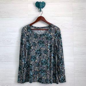 LOGO Lori Goldstein Vintage Floral Soft Knit Top
